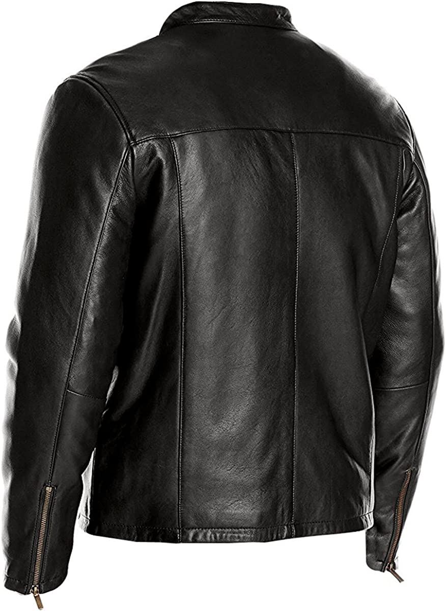Finest Collections Mens FN1 Black Leather Jacket S, Black