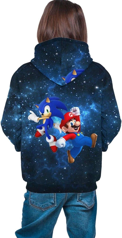 Kids//Youth Pullover Hoodie Super M-ar-io So-nic 3D Print Fleece Hoody Sweatshirt