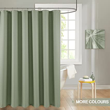 Lazzzy 72quot Olive Shower Curtain Green Sage Curtains Drapes Metal Grommets Top For