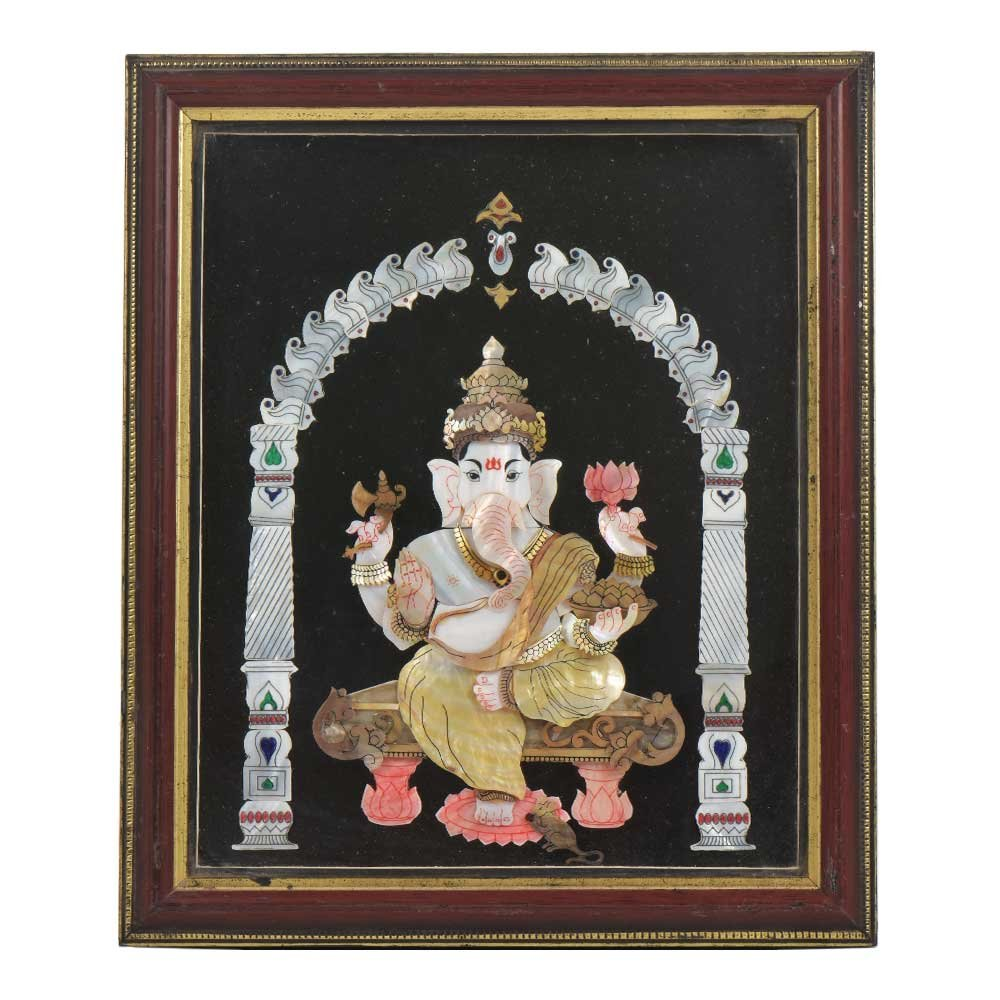 IndianShelf Handmade Paper Handmade Shell Craft Ganesh Framed Painting Online by IndianShelf