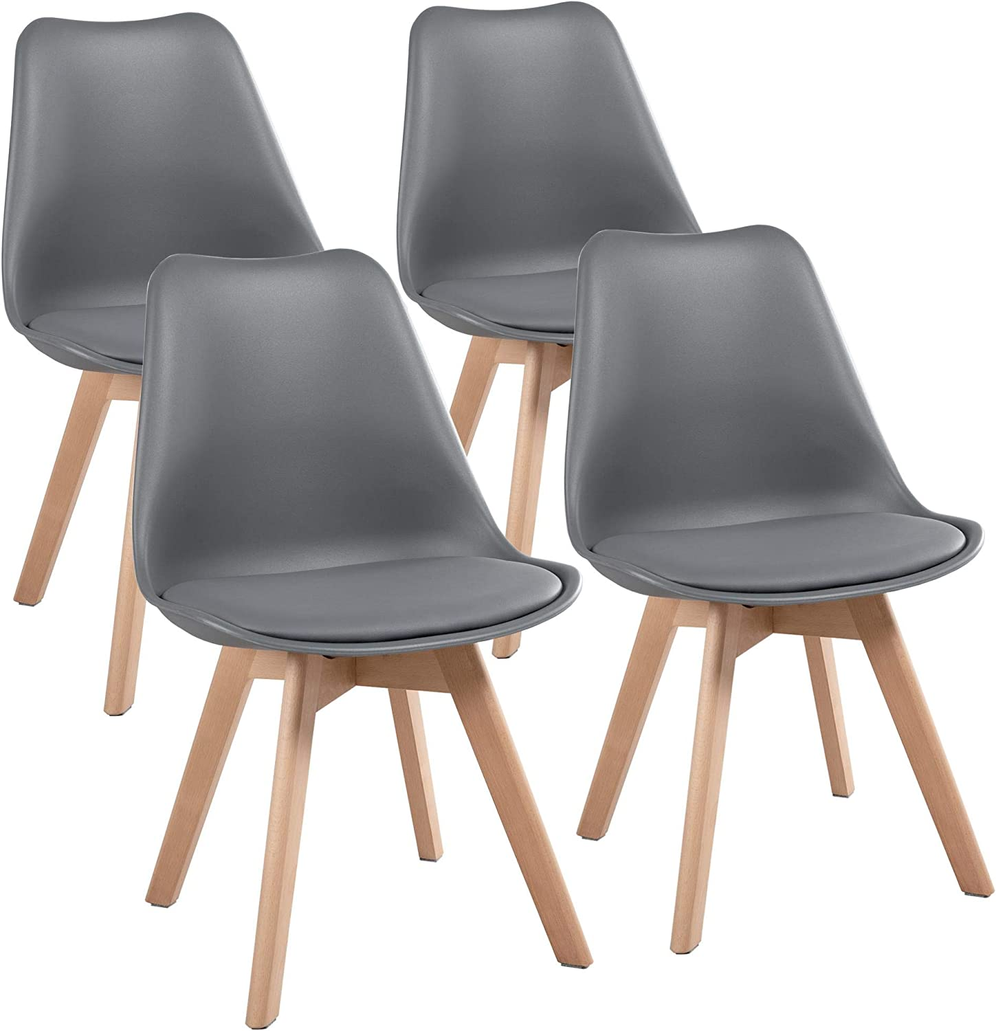 YAHEETECH Dining Chairs DSW Chair Tulip Chair Shell PU Side Chair with Beech Wood Legs Modern Mid Century Eiffel Inspired Chair Upholstered Dining Room Living Room Bedroom Kitchen Dark Gray,4Pcs