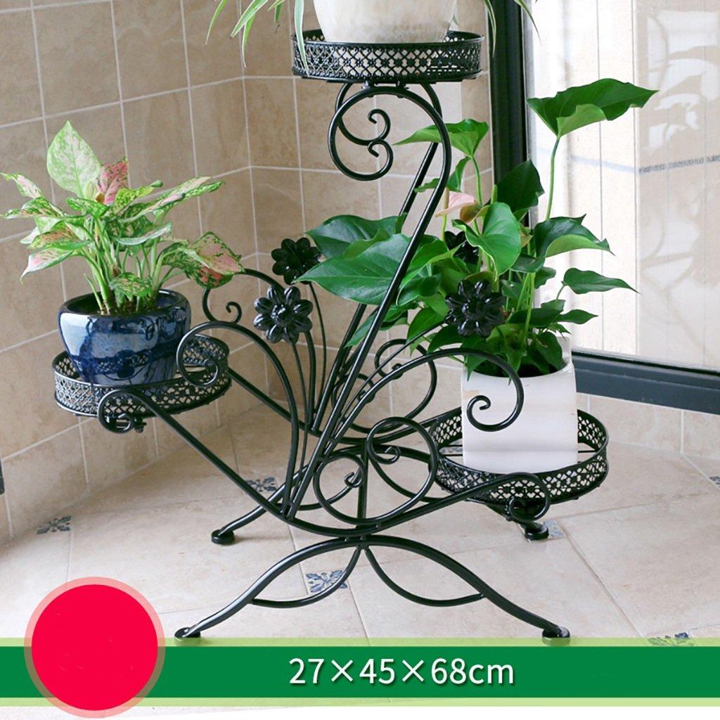 soporte de hierro flor Estante de balcón de varios pisos de color verde interior estante balcón sala de estar colgando perchero de suelo verde de pie Balcón ...