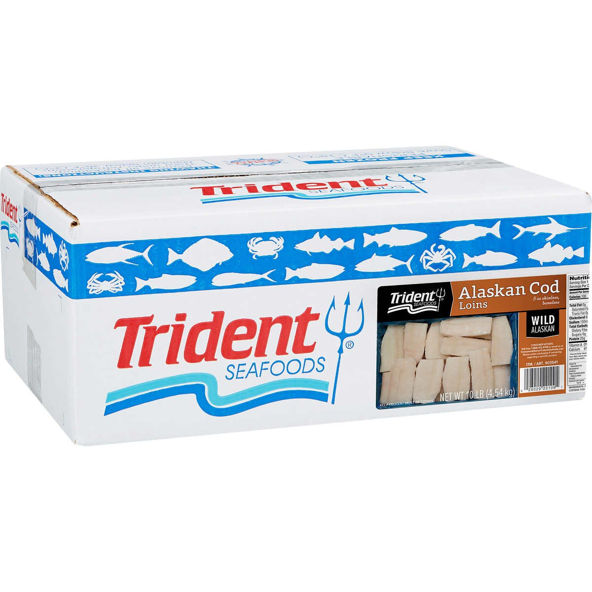 Trident 10lb Wild all-natural Alaskan Cod Loins Pre-Portioned 5-8 oz Fillet Seafood Fish