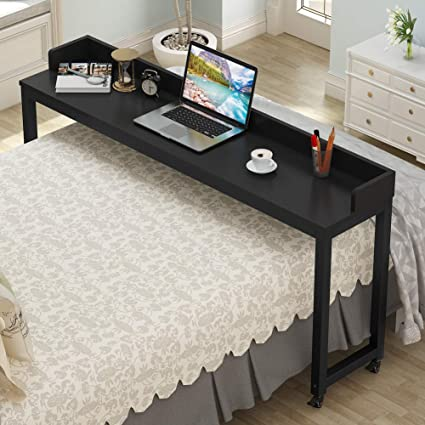 Overbed Table With Wheels, Tribesigns 70.8u0027u0027 Queen Size Mobile Desk With  Heavy