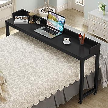 Mesa para cama con ruedas, tribesigns funda para escritorio con patas de metal y gran superficie ...