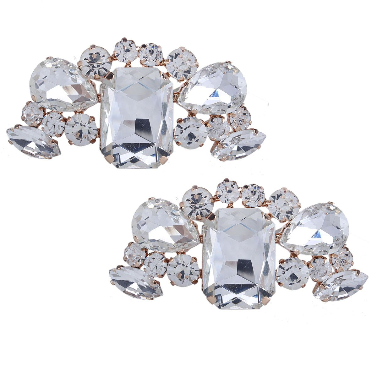 Santfe Fashion Crystal Rhinestone Flower Shoe Buckle Shoe Clips for Bridal Wedding Party Shoe Decoration (silver-d)