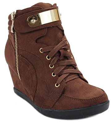 Women Peggy53 Lace Up Faux Suede Golden Plate Zipper Decor High Top Wedge Sneaker Booties