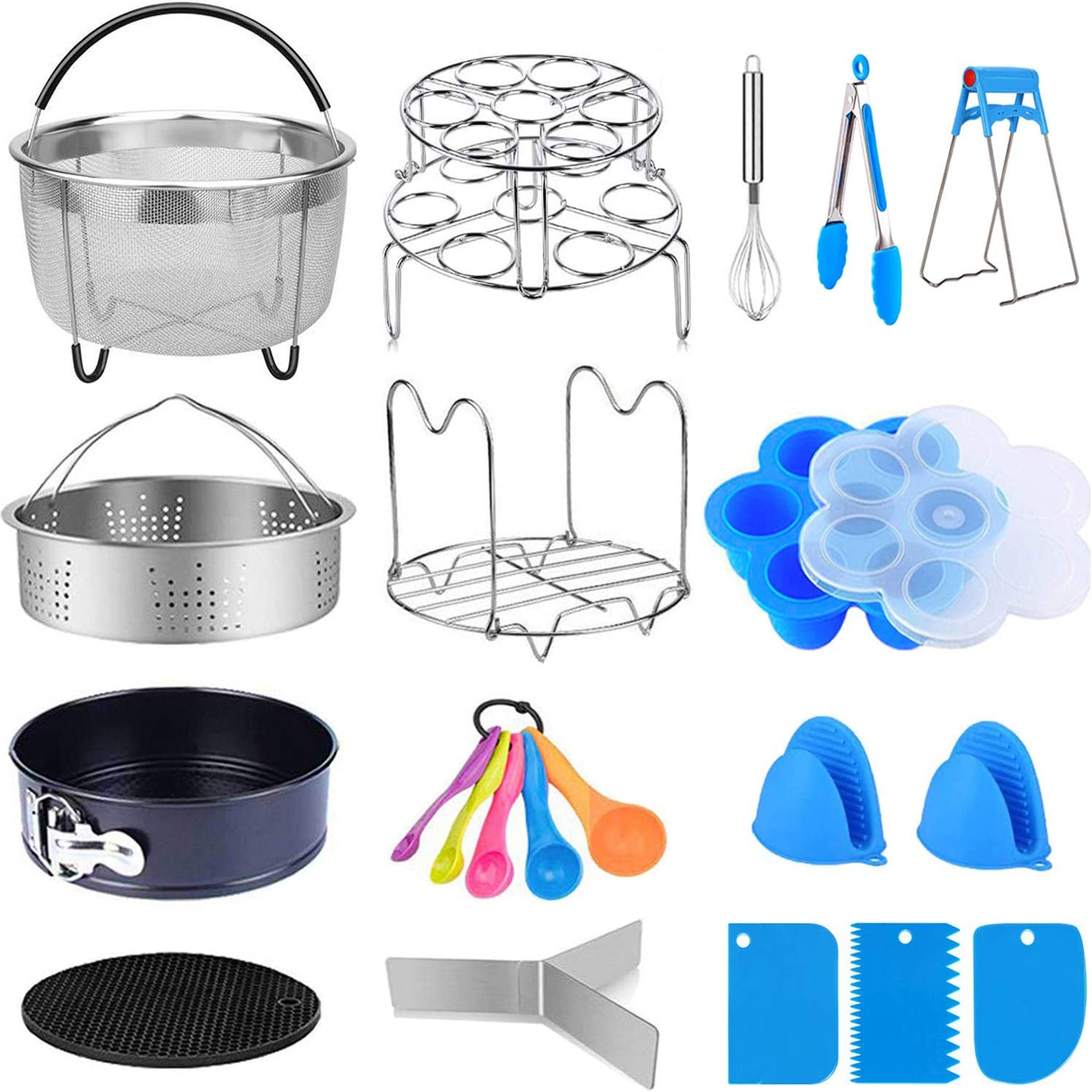 18 Pcs Accessories for Instant Pot 5,6,8 Qt, Pressure Cooker Accessories Set, Steamer Basket Kitchen Tong Plate Gripper Egg Beater Springform Pan