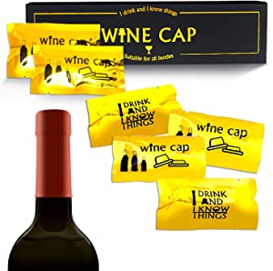 Wine Accessories Gifts Set - Wine Caps for Wine Bottles Wine and Beverage Bottle Stoppers Reusable Wine Accessories for Kitchen, Wine Gifts Set for Wine Lovers and Drinkers, Multicolored (8 Pcs/Set)