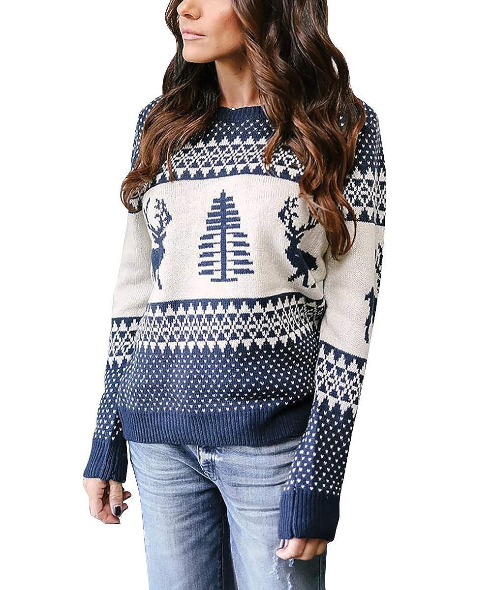 Pullover Damen Weihnachtspullover Frauen Gestrickte Christmas Reindeer Rundhalsausschnitt Drucken Lange Sleeve Weihnachten Sweatshirt Jumper