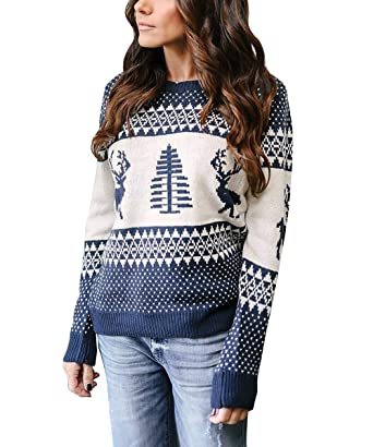 db7c3bfe288a25 Cindeyar Femme Pullover Noël Tricoté Renne Pull Manches Longues Hiver Mode  (XL, Bleu)