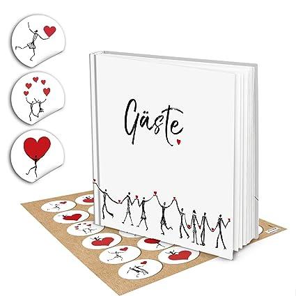 Original Corazón humanos Visitas boda libro de visitas Color Blanco Negro Rojo Klassisch – con corazones