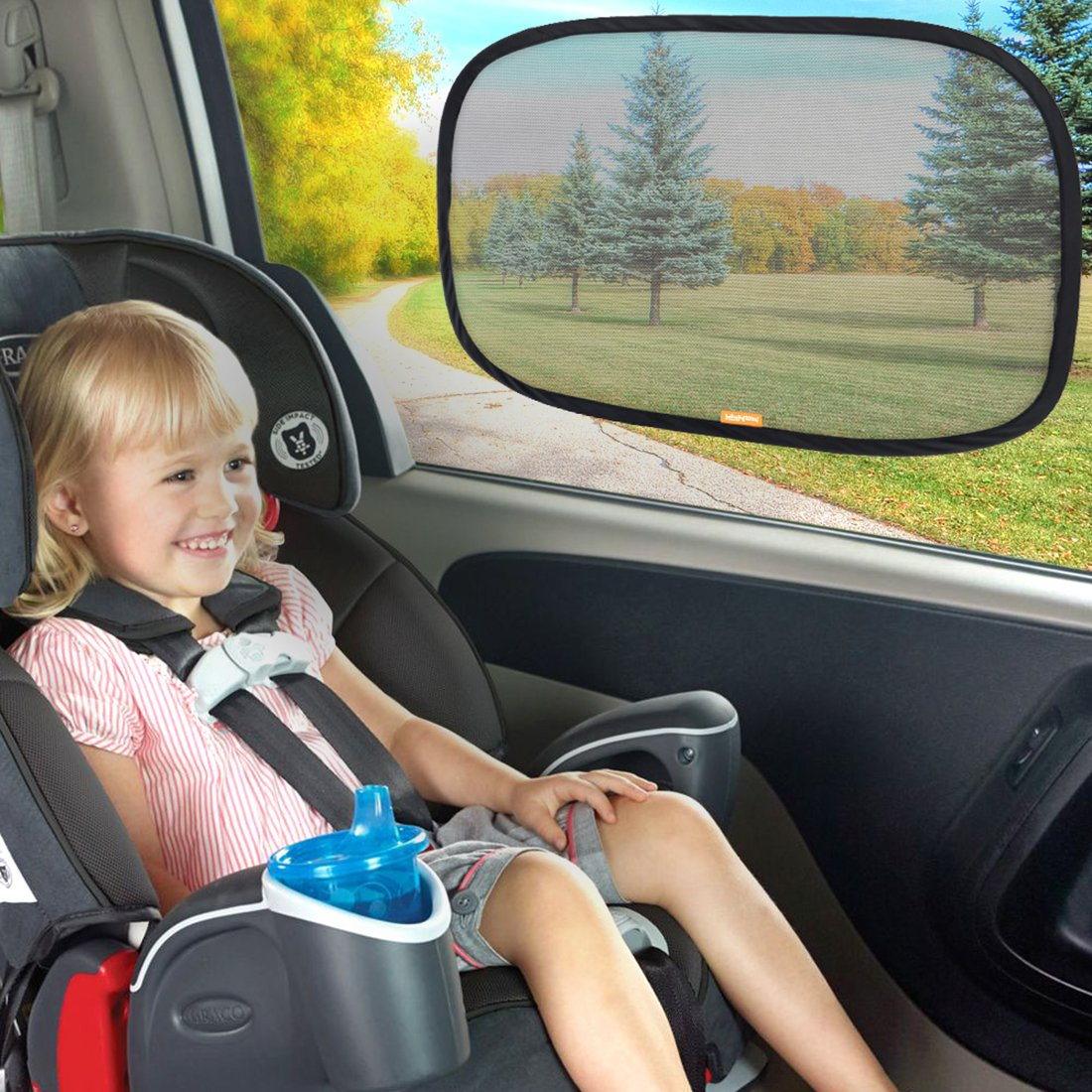 Car Sun Shade- Premium Static Cling Auto Side Window Shades - Super UV Protection for Baby Infant Child, Pet - Nice Effective See Thru Sunshade - Maximum Sunlight Glare Protector -Easy Usage & Storage BriteNway BRTN00105