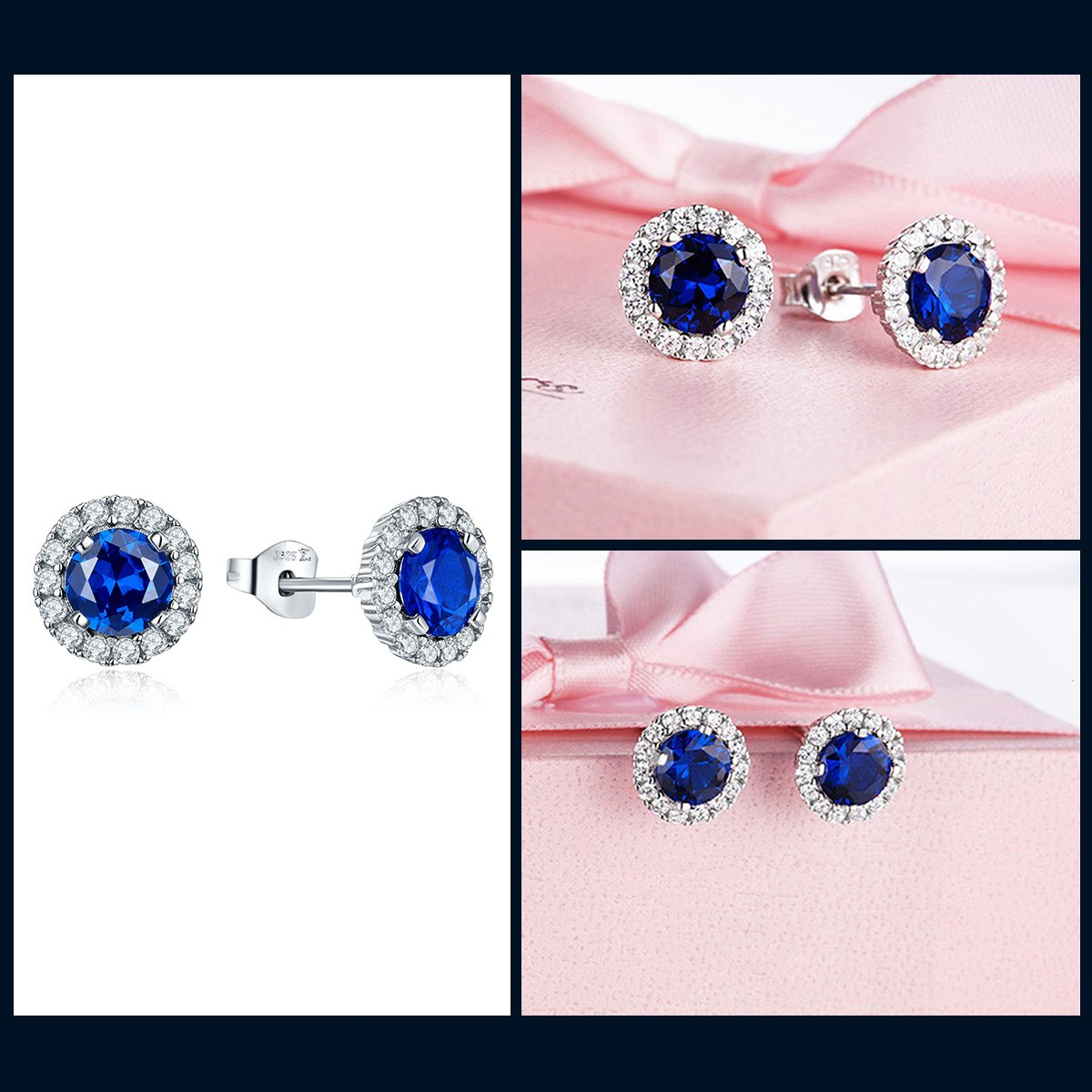 JO WISDOM 925 Sterling Silver Round Gemstone and Blue Created Sapphire Halo Stud Earrings by JO WISDOM (Image #5)