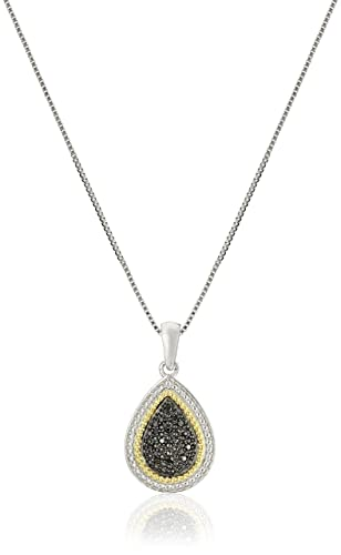Sterling Silver Black or Blue Diamond Pear Shape Pendant Necklace, 18