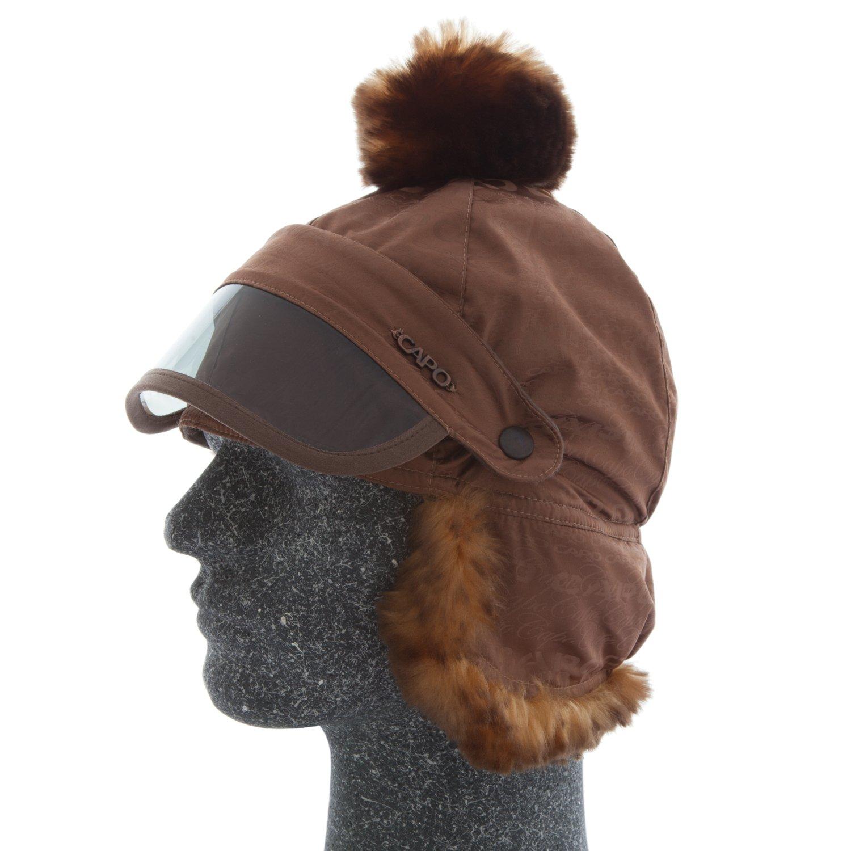 CAPO Damen Skimütze mit Sonnenschutz, Kunstfell und Bommel, mit weichem Thermoinnenfleece