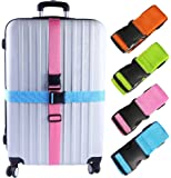 Darller 4 PCS Luggage Straps Suitcase Belts Adjustable Packing Straps Travel Accessories, Multicolored