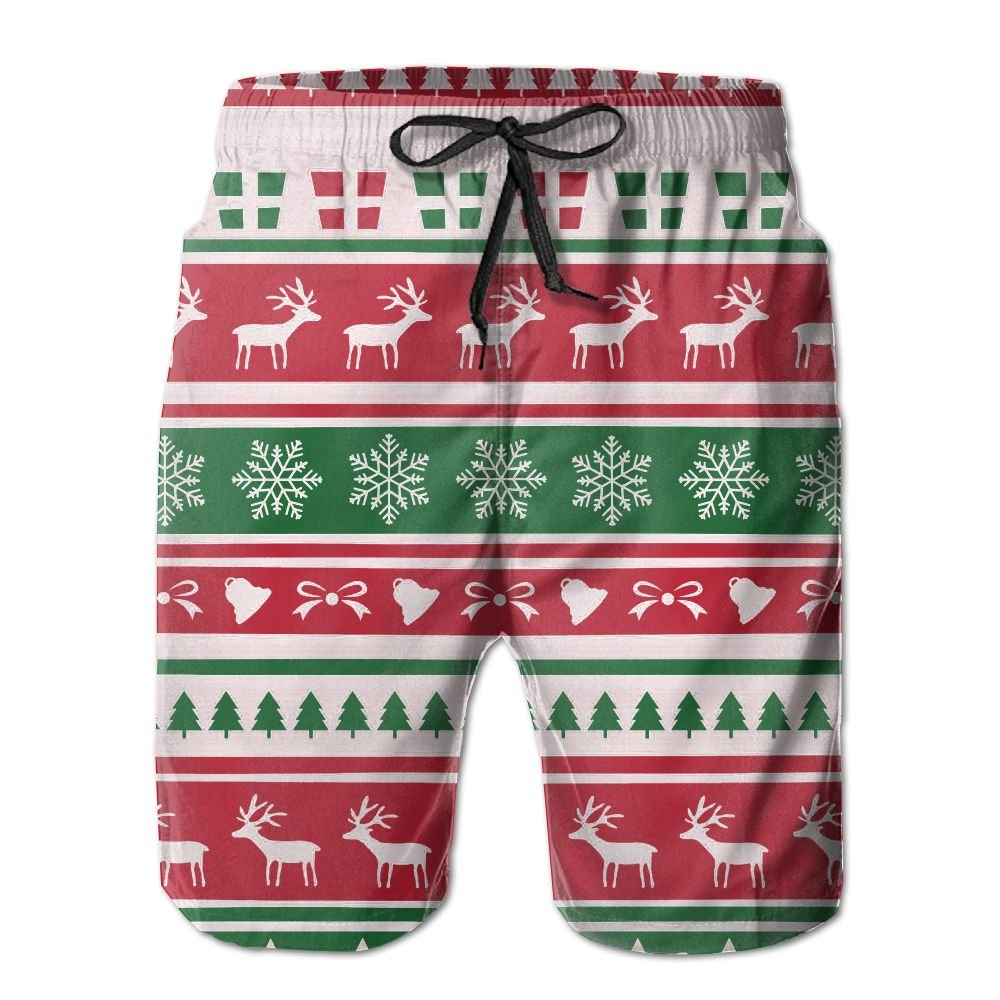Qpkia Background Christmas Men Shorts Boardshorts Pants Pocket