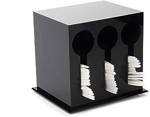 Mind Reader Plastic Utensil Stand, Cutlery Dispenser, Plasticware Sorter for Restaurant, Diner, Picnics, 3 Compartment, Black