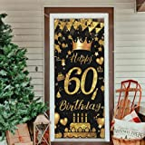 60th Birthday Party Decorative Door Cover, Large Black & Gold Happy 60th Birthday Door Banner Sign, Photo Booth Backdrop Back