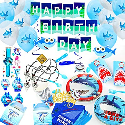 Baby Shark Party Supplies Set - with Shark Party Favors Pool Decorations for Boys and Girls Kids Banner Swirls Shark Signs Balloons Cutlery Tablecloth Plates Cups Napkins Serves 12!: Kitchen & Dining