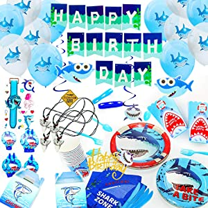 Baby Shark Party Supplies Set - with Shark Party Favors Pool Decorations for Boys and Girls Kids Banner Swirls Shark Signs Balloons Cutlery Tablecloth Plates Cups Napkins Serves 12!