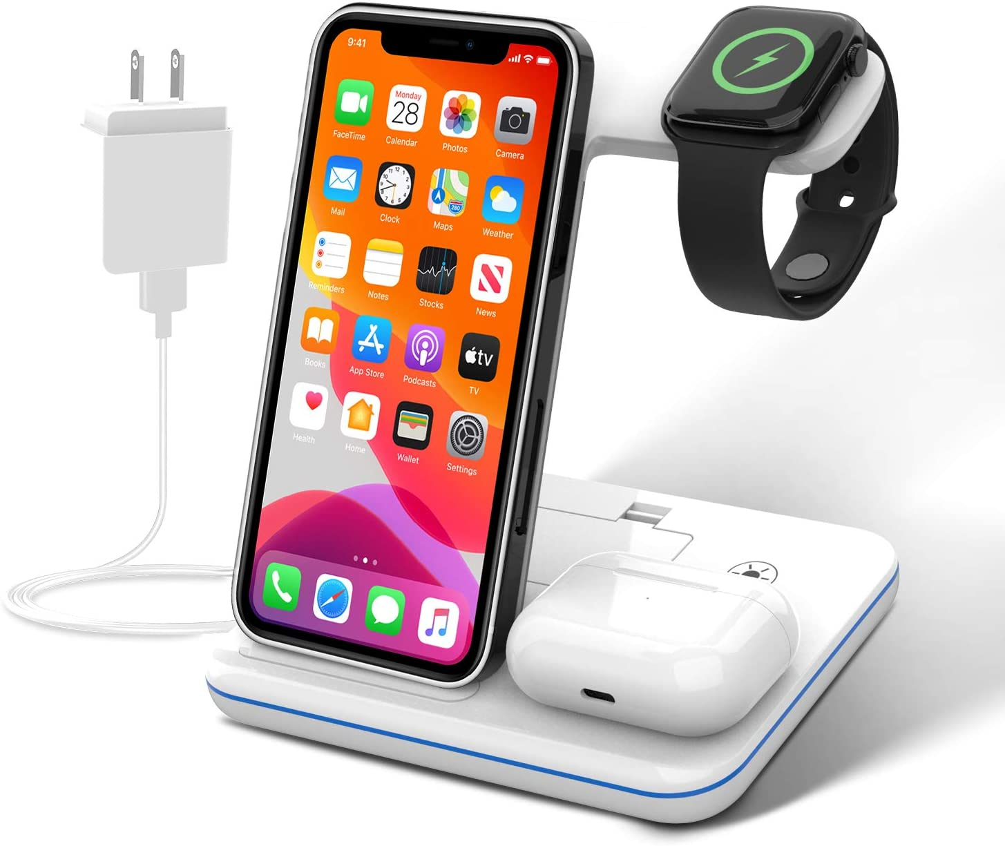 15W Wireless Charging Station (With Adapter), Yunerz 3-in-1 Fast Wireless Charger for Apple iPhone 12/11/X/8 Series, Galaxy Note 20/20 Ultra, S20/S20 Ultra, Apple Watch Series/6/SE, Airpods