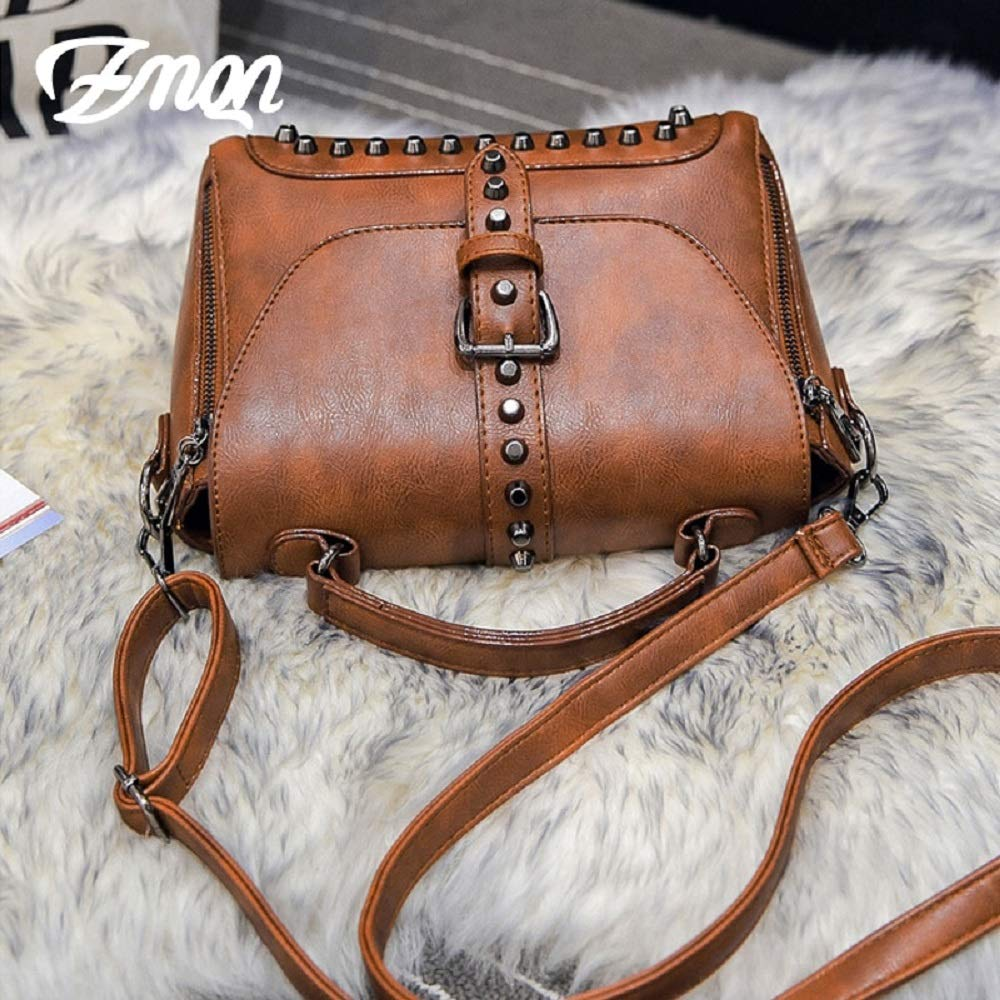 Crossbody Bags for Women Messenger Bags 2018 Vintage Leather Bags Handbags Women Rivet Small Shoulder Sac A522 (Black)