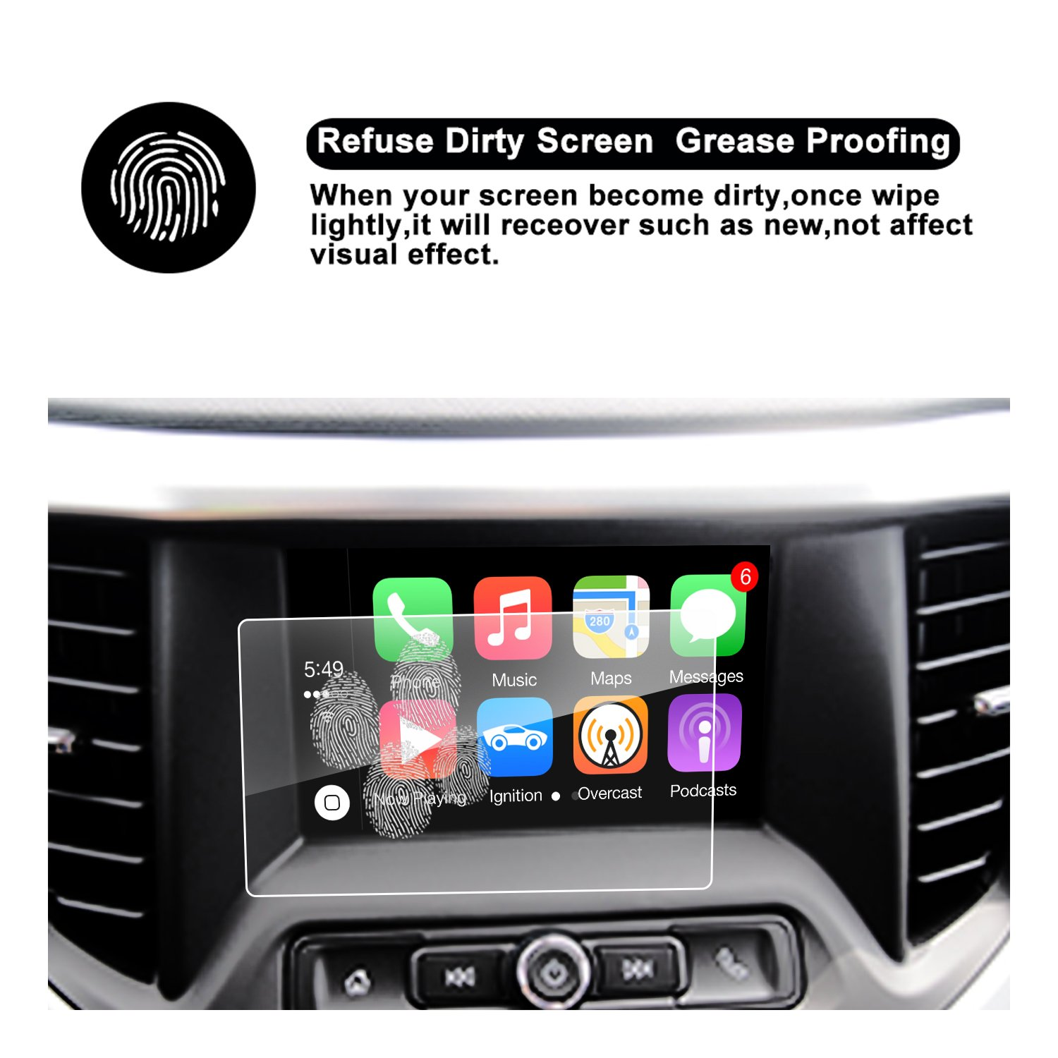 8-Inch 2017 2018 GMC Acadia Display Navigation Screen Protector R RUIYA HD Clear Tempered Glass Screen Guard Shield Scratch-Resistant Ultra HD Extreme Clarity