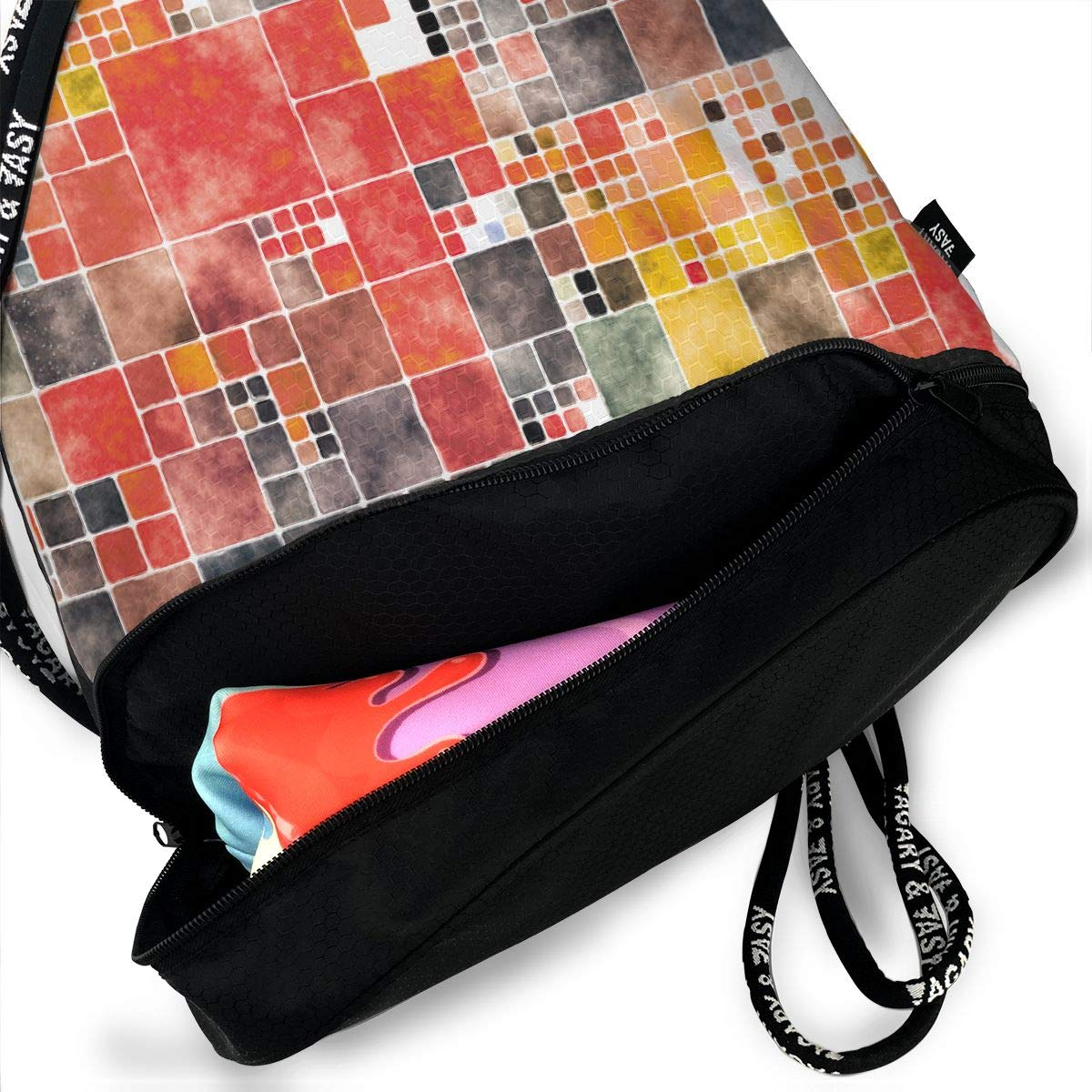 Painted Tiles 2 Drawstring Backpack Sports Athletic Gym Cinch Sack String Storage Bags for Hiking Travel Beach