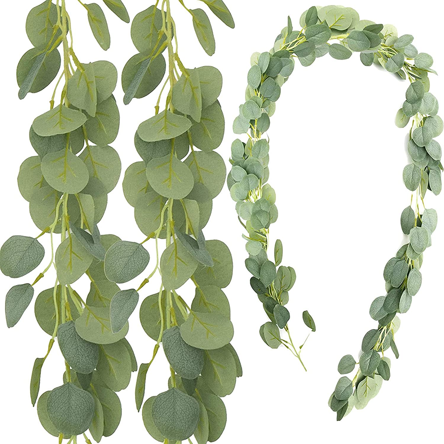 HANTAJANSS 3 Packs Artificial Eucalyptus Garland, Frosted Greenery Leaves Vines, Faux Silk Foliage for Wedding Backdrop Table Arch Wall Décor 6 1/2FT