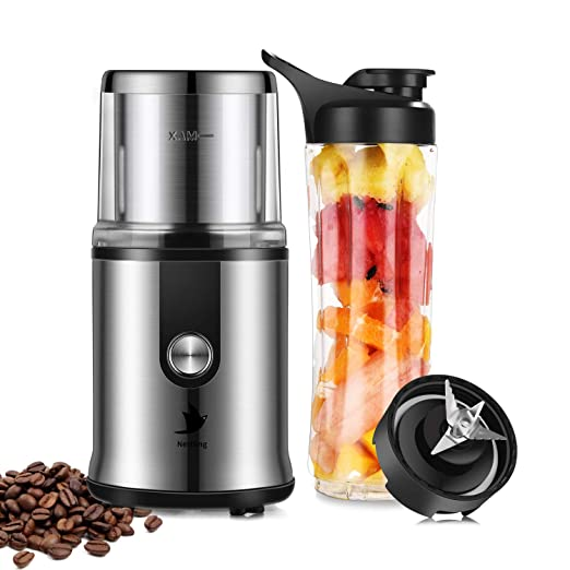 Molinillo de café eléctrico 300 W granos de café Nueces Especias cereales Kleine kaffeemuehle con una cuchara de acero inoxidable negro