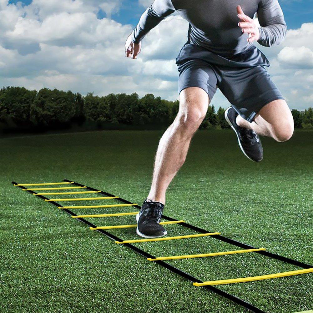 GHB 6M Scala Agilità Scaletta Per Allenamento Calcio Esercizio Velocità Fitness 12 Piolo con Custodia Portatile Regolabile - Giallo gohappybuy