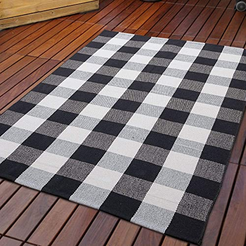 DOLOPL Buffalo Check Black Off White Rug Buffalo Plaid Rug 3 x5 Easy to Clean Woven Farmhouse Area Rug Machine Washable Christmas Area Rugs for Dining Living Bedroom Cotton