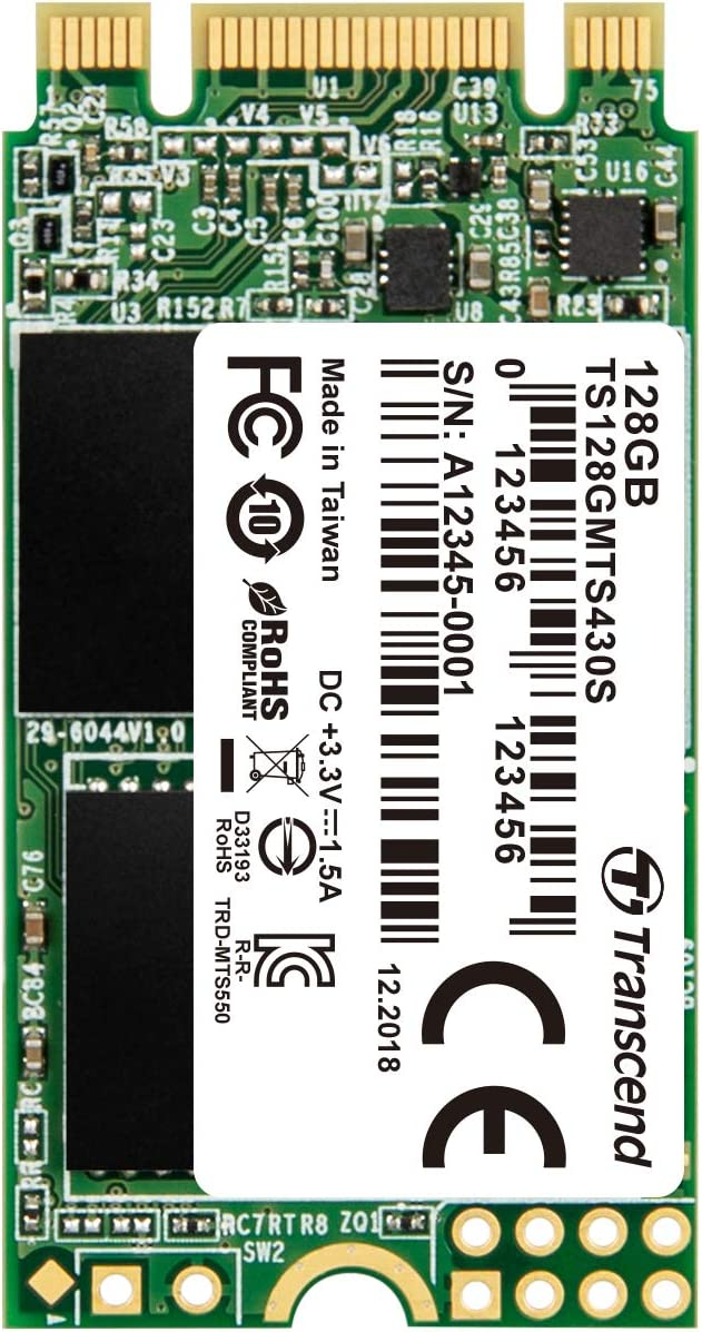 Transcend 128GB SATA III 6Gb/s MTS430S 42 mm M.2 SSD Solid State Drive (TS128GMTS430S)