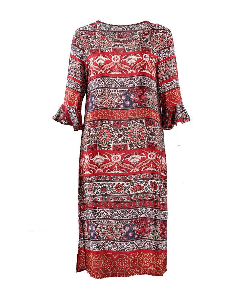 UAISI2018 Women 100% Mulberry Silk Mid Long Dress Casual Summer Print Skirt (M, Red)