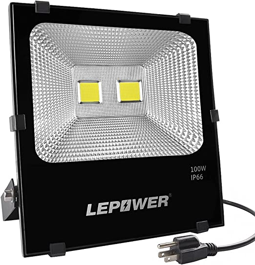 Lepower 100w Led Flood Light Outdoor Super Bright Outdoor Work Light 500w Halogen Bulb Equivalent Ip66 Waterproof 8000lm 6000k White