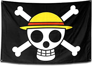 Sosolong Anime Room Decor 60inx40in Large Size One Piece Flag,Pirate Legion Flag,Wall Hanging Decor Boys Room Decor for Bedroom Living Room,Luffy's Straw Hat Pirate Flag (Luffy, 60in40in)