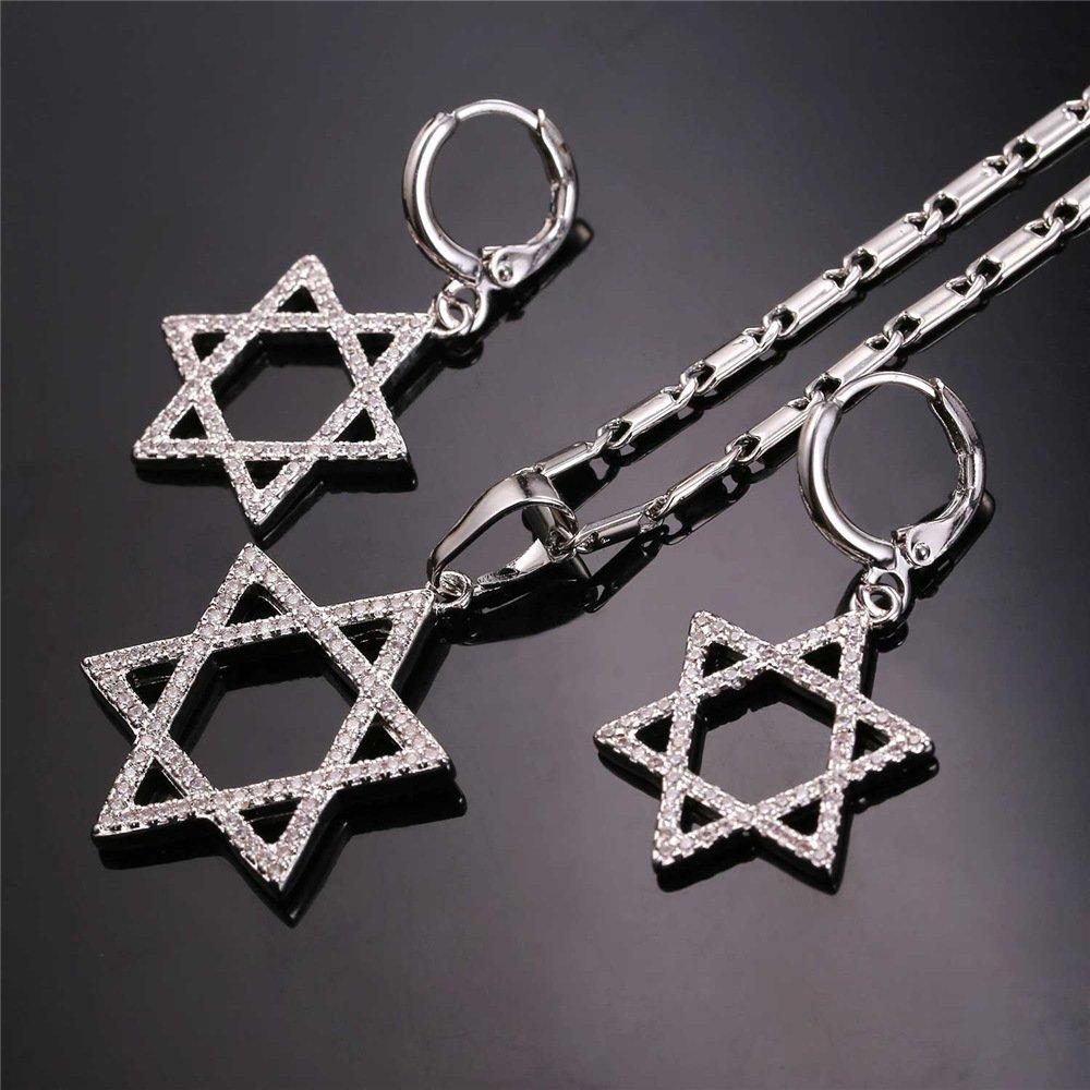 U7 mujeres joyería Set estrella judía de David collar pulsera pendientes anillo partido boda mujeres joyas: U7 Jewelry: Amazon.es: Joyería