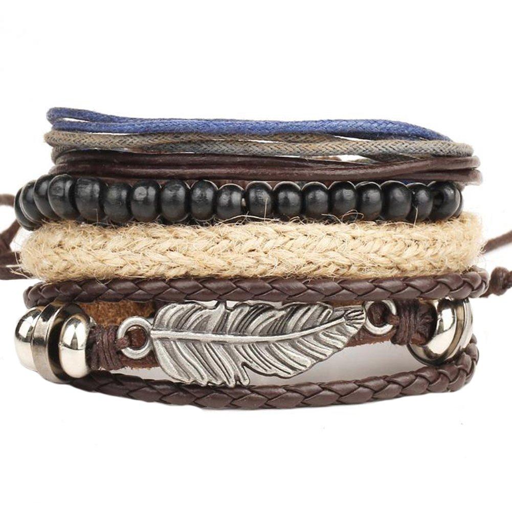 Gespout 4pcs Mode Rétro Bracelet pour Homme Pendentif Plume Beaded Bracelet Bijou Femme Bracelets Idéal Cadeau pour Anniversaire Noël Mariage