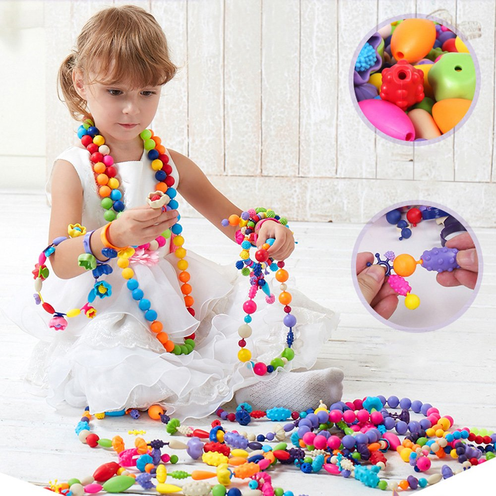 Happytime 180 Pieces DIY Jewelry Kit Fashion Fun for Necklace Ring Bracelet Art Crafts Gifts Toys for Kids Girls Snap Pop Beads Girls Toy