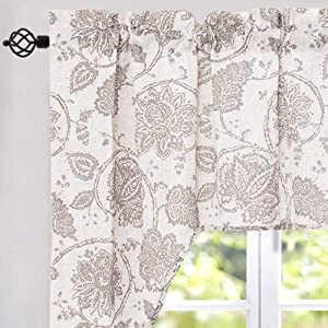 jinchan Swag Valance Taupe Window Curtain Linen Print Scroll Jacobean Floral Paisley Medallion Rustic Style Wide 60 x Long 38