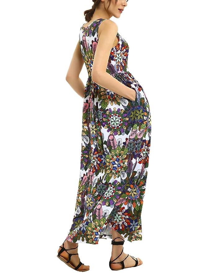 9042b58a4c869 GINKANA Women's Maternity Sweetheart Party Maxi Summer Dress for Pregnant  Women at Amazon Women's Clothing store: