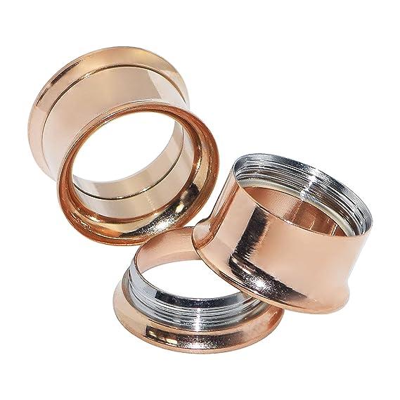 Longbeauty - 3 pares de pendientes de acero inoxidable para dilataciones, varios colores a elegir, StilC:Schwarz&Bunt&Rosegold, 14 mm: Amazon.es: Deportes y ...