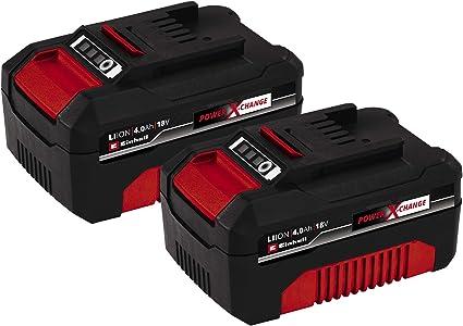 Einhell Pack Doble de baterías 4,0 Ah Power X-Change (Iones de Litio, 18 V, 2x4,0 Ah, apropiado para Todos los aparatos PXC, gestión proactiva de la batería, ciclos de Carga adaptados a la situación)
