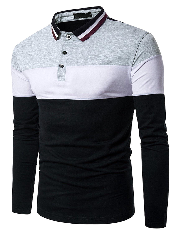 TALLA L. Boom Fashion Hombre Camisetas y Polos Mangas Largas Casual Oficina Botón Camisas