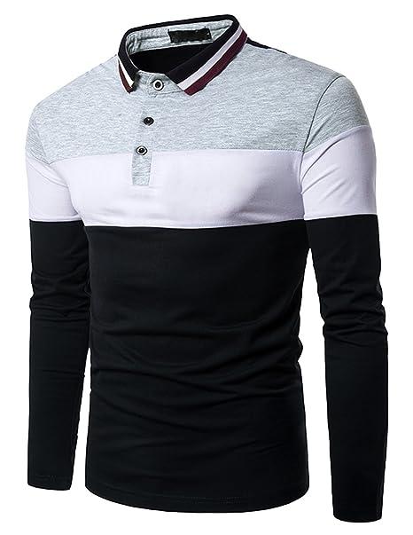 d95f8288bb9e9 Boom Fashion Hombre Camisetas y Polos Mangas Largas Casual Oficina Botón  Camisas  Amazon.es  Ropa y accesorios