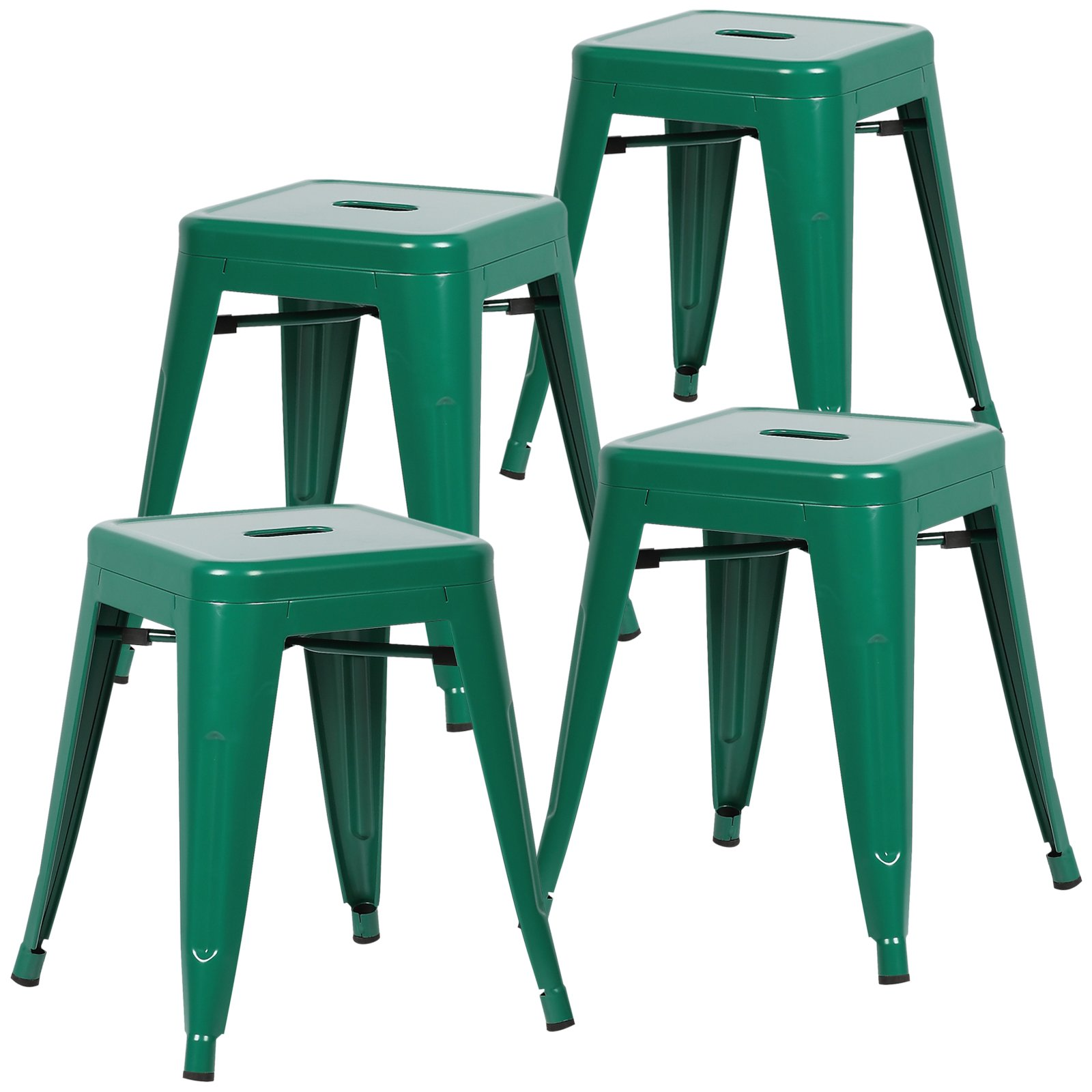 Poly and Bark Trattoria 18 Inch Metal Side Dining Chair and Bar Stool in Dark Green (Set of 4) by POLY & BARK