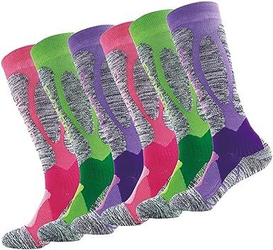LIOOBO 3 pares 3 colores de algodón para mujer medias ...