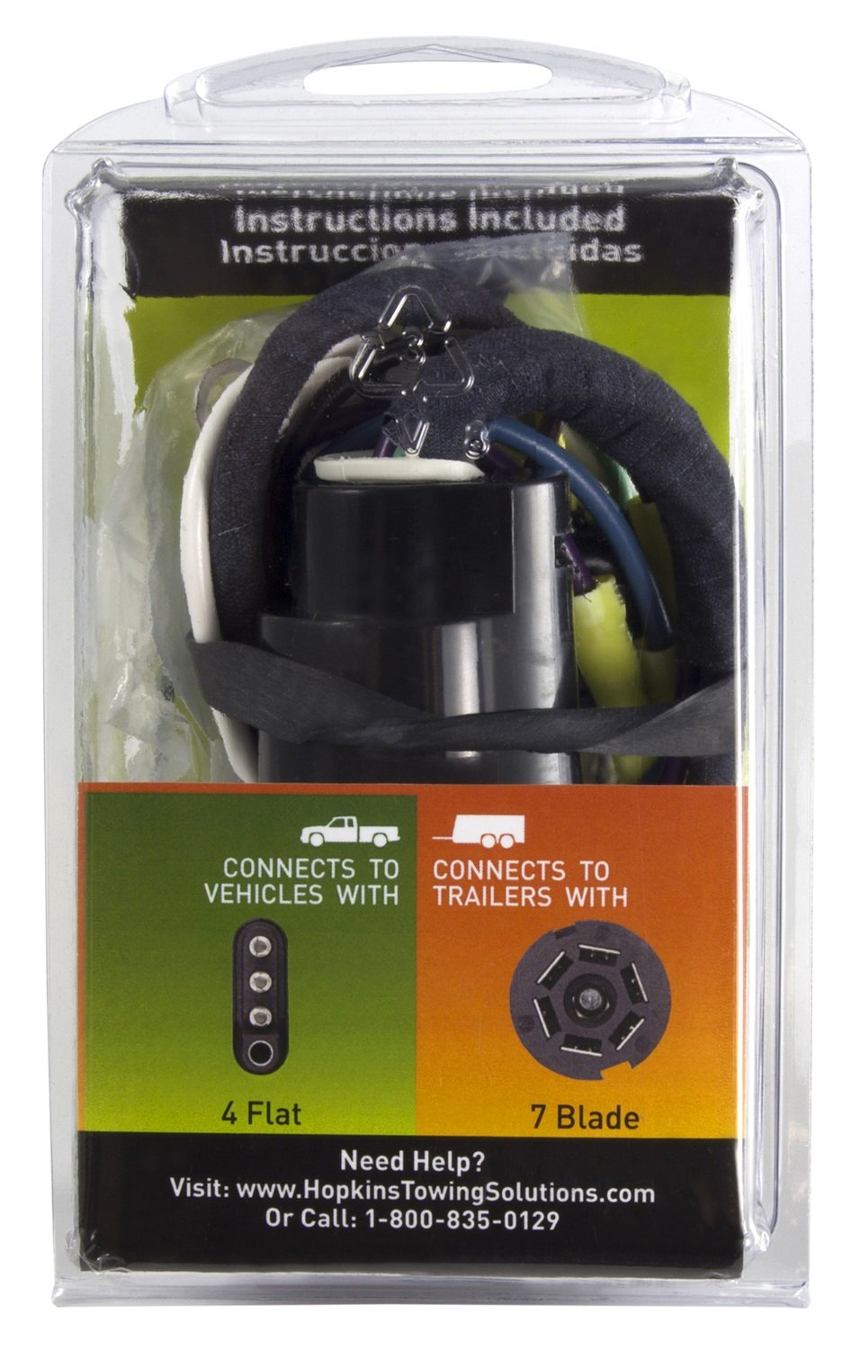 Hopkins 47205 4 Wire Flat Adapter Automotive Connector Vehicle To Trailer Wiring